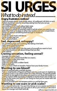 A helpful list of things to do when you are triggered to self-harm. You are all in our thoughts. #SI #selfharm