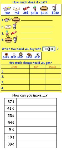 Interactive Smartboard Money Activities, also available in Canadian coins.  Printable worksheets included.