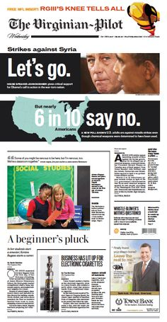 The Virginian-Pilot's front page for Wednesday, September 4, 2013.