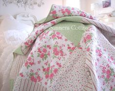 Beach House Linens for Shabby Chic Romantic Cottage Homes, Decor, Quilt