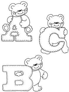Moldes Para Artesanato em Tecido: Riscos Moldes Alfabetos de Ursinhos