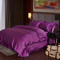 Luxury Deep purple Egyptian cotton bedding sets sheets queen duvet cover king size doona quilt bed in a bag bedsheet linen 4pcs