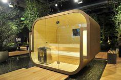 Outdoor sauna by Kung Saunas   www.prestigesaunas.co.uk