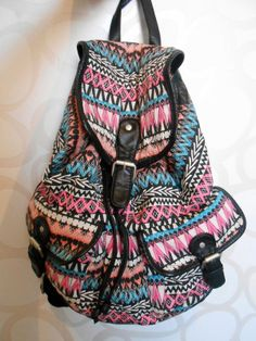 After Class Aztec Print Backpack Purse - Blue from Jewelry ...
