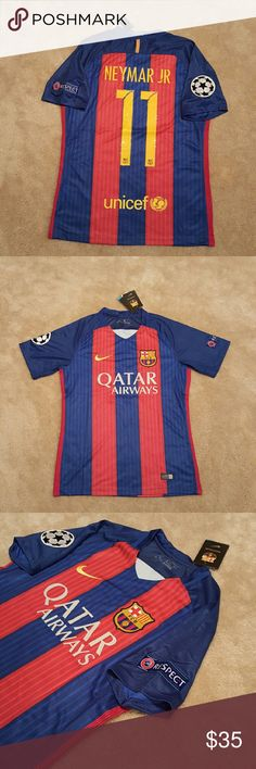Barcelona home 16/17 Neymar jersey FEATURES Condition: Brand New Tags Authentic: yes Gender: Mens Patch: Yes Logo Type: embroidery Material: 100% Polyester ___________________________  Thank you for stopping by! :) ___________________________ Tags: #adidas #futol #soccer #fifa #football #jersey #shirt #tshirt #mens #tops #sports #player #Authentic #player #fans #team sports #Sporting goods Nike Shirts Tees - Short Sleeve
