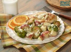 Roasted Brussels Sprouts, Potatoes and Chicken  #veggies #protein #dairy #MyPlate #WhatsCooking