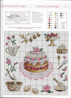 DMC BK1089 the big cakes with roses Point de Croix Magazine-N ° 97