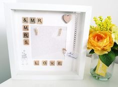 Personalised Scrabble Art Frame for Wedding Gift, Newlyweds White Box Frame, Scrabble Art, Wooden Words, Frame Background, Newlywed Gifts, Box Frames, Just Married, Newlyweds, Colorful Backgrounds