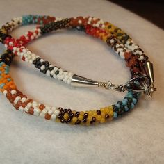 Beadwork choker necklace kumihimo braided in