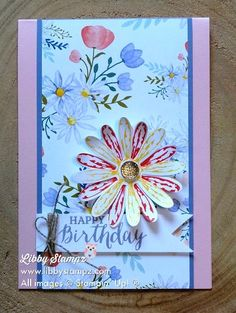 Daisy Delight. The Designer Series Paper is just gorgeous and I can see it being used a lot in many different projects. The items from the 1027 – 2018 Annual Catalogue which have been used are:  # 145361 Daisy Delight Bundle (stamp set & punch) $54.75 # 143669 Daisy Delight Stamp Set – 16 photopolymer Stamps $30.00 # 143713 Daisy Punch $31.00 $ 144137 Delightful Daisy Designer Series Paper $19.25 #144141 Faceted Gems (Gold) $8.75 #144251 Powder Pink $14.00