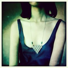 The Pamela Love Oculus Pyramid Necklace with green aventurine arrow beads.