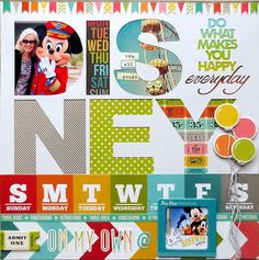 Cute #Disney #scrapbooking layout.  Love the cut out letters with the photos behind them.
