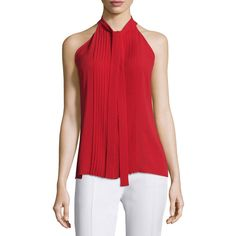 Michael Kors Collection Tie-Neck Pleated-Front Sleeveless Top (€275) ❤ liked on Polyvore featuring tops, crimson, red tank top, neck ties, high neck tank, red sleeveless top and silk tank
