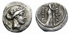 Ancient Coins - ROMAN REPUBLIC. POMPONIA. (56 BC). SIVER DENARIUS. MUSA EUTHERPE. ATTRACTIVE.