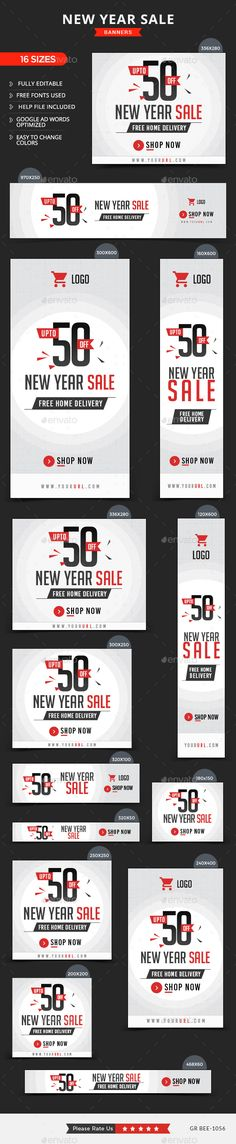 New Year Sale Banners by doto Promote your Products and services with this great looking Banner Set. 16 awesome quality banner template PSD files ready for you Web Design, Graph Design, Web Banner Design, Banner Sample, Banner Template, Banner Design Inspiration, Thumbnail Design, Event Banner, Web Banners