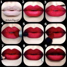 """Red & Black Double Ombre Pictorial  by the amazing @Christina Childress Childress Childress Parga ❤️ 1⃣PRIME LIPS & apply concealer on and around lips [Mac Studio Fix Concealer]  USE A LIPLINER AS a base on lips [MAC """"Cherry"""" Lipliner] with NYX """"Dark Red"""" Lipliner in the outer corners.  2⃣NEXT, she applied red gel eyeliner by Inglot #79 all around her lips for a clean defined look (This step is optional). 3⃣DAB LIPSTICK """"RiRi Woo"""" Lipstick (LE) by ei.che.31"""