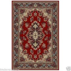 £59.95 185x270   TRADITIONAL WILTON PERSIAN MEDALLION STYLE RUGS Large Sizes PINK NAVY GREEN RED | eBay