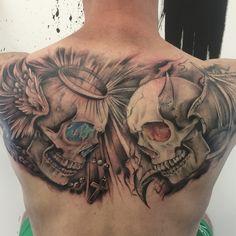 Chest Tattoo Skull, Skull Hand Tattoo, Chest Piece Tattoos, Skull Tattoo Design, Skull Tattoos, Body Art Tattoos, Sleeve Tattoos, Good And Evil Tattoos, Wicked Tattoos