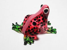 Lampwork COLLECTIBLE MINIATURE HAND BLOWN Art GLASS Mini Red Frog FIGURINE