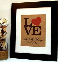 "Personalized ""Love"" Sign with Red Heart on Burlap, by BusyBeeBurlap"