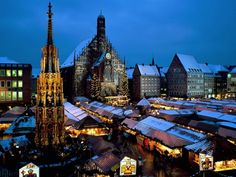 ChristkindlMarket in Nuremberg, Germany. This is one of the most beautiful Christmas Markets. Even though it will be summertime when I go... I would still love to see this.