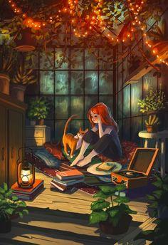 Secret Hideaway, an art print by Yaoyao Ma Van As Art And Illustration, Art Anime Fille, Anime Art Girl, Cartoon Girl Images, Cartoon Art, Alone Art, Art Mignon, Arte Disney, Digital Art Girl