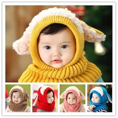 >> Click to Buy << cap hats for children Puppy Scarf Winter New Baby Wool  Winter Hat  Beanie Hat Hooded Scarf Earflap Knit Cap Toddler Cute #Affiliate