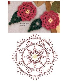 No.81 Beach Rose Crochet Flower Motifs / 비치로즈 코바늘 플라워 모티브도안