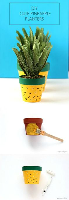 DIY Cute Pineapple Planters | Trying to bring some life into the home? Treat yourself or a friend to these DIY Pineapple Planters