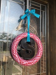 Baby shower - red, turquoise and black wreath