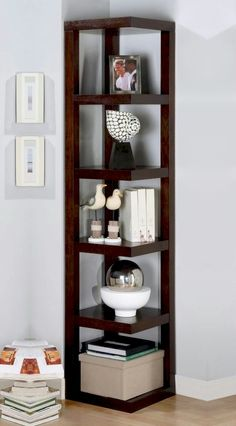 5-Tire Modern Corner Storage Rack With Five Display Rack Shelves In Cappuccino Dark Wood Finish. (Item# Vista Furniture CF800268)