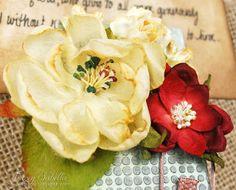 Mixed Media Scripture Card Holder by Tracey Sabella ~ DT for Helmar - Close-up: Flowers, Petaloo Helmar Decoupage & Craft Paste, Krystal Kote Spray Varnish, Helmar 450, Tim Holtz Stencil