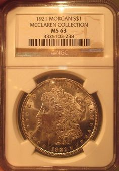 1921 Silver Morgan Dollar $1 NGC MS 63 McClaren Collection Rare Pedigree Coin