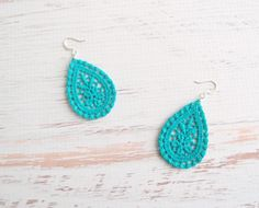 Turquoise Lace Earrings  >>> This shop has tons of crochet jewelry