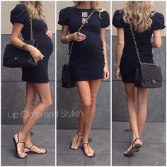 Yesterday - dress 'Maxi single flap bag in caviar leather and flats Pregnancy Wardrobe, Pregnancy Outfits, Pregnancy Fashion, Baby Bump Style, Mom Style, Maternity Wear, Maternity Fashion, Maternity Style, Fendi Dress