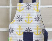 Nautical Smock, Child Apron, Nautical Apron, Preschool Smock, Nautical Toddler Gift, Toddler Party Favor, Nautical fabric, Toddlesmocks