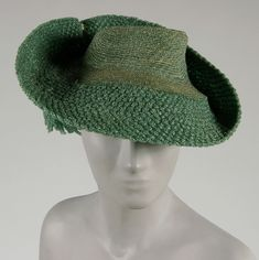 Woman's hat (front view) | United States, circa 1940 | Material: green synthetic straw | Philadelphia Museum of Art