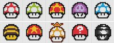 Here are 10 mushrooms from the Mario series. They can help you make these mushrooms with Perler beads. Mario Mushrooms - 10 p. Pixel Art Templates, Perler Bead Templates, Cross Stitching, Cross Stitch Embroidery, Cross Stitch Patterns, Perler Bead Mario, Perler Beads, Hama Beads Patterns, Beading Patterns
