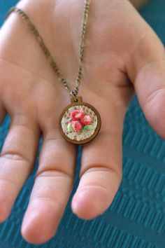 Tiny Embroidery Hoop Necklace antique bronze necklace by Mindiemay, $24.97