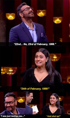 """And when Ajay lost whatever few brownie points he may have won during the episode, as soon he forgot his anniversary. 16 Moments From Kajol And Ajay Devgn's """"KwK"""" Episode That Were Either Banterous Or Just Plain Mean Funny True Facts, Funny True Quotes, Cartoon Memes, Funny Cartoons, Desi Problems, Vintage Bollywood, Bollywood Style, Koffee With Karan, Silly Love"""