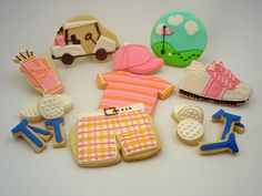 girly set of golf cookies