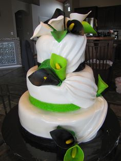 Lime Green & Black Calla Lily Wedding Cake! love this