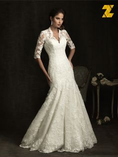 Cheap wedding dress with sleeves, Buy Quality lace wedding dress directly from China vintage lace wedding dress Suppliers: Vintage Lace Wedding Dresses with Sleeve 2015 V Neck Appliques Bridal Gowns See Through Back Mermaid Vestidos De Noivas Lace Wedding Dress With Sleeves, Wedding Dress Train, Luxury Wedding Dress, Lace Mermaid Wedding Dress, Elegant Wedding Dress, Wedding Dress Styles, Bridal Lace, Bridal Dresses, Dresses With Sleeves