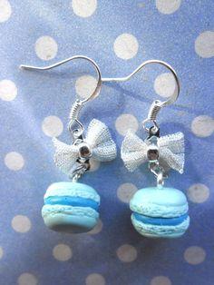 Boucles d'oreille macaron bleus