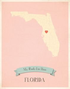 Gotta have this for a future baby room! Florida Roots Map 11x14 Customized Print by MyRoots on Etsy, $40.00