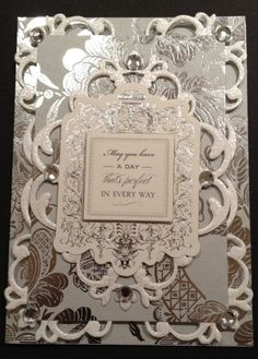 Fancy Wedding Card with Pearlescent and Silver Foil Anna Griffin Papers