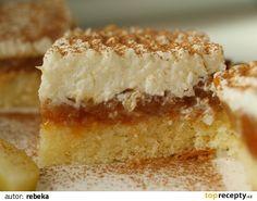 KOKOSOVO-OVOCNÝ ZÁKUSOK těsto: žloutky šleháme s cukrem a vodou do husté pěny z bílků vyšleháme tuhý…