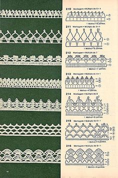 These free crochet tips are always helpful to use in dish towels, napkins or even in swaddling babies or crochet fronhas. Tina s handicraft 128 designs patterns for trimmings 121 Models of Nozzles and Barred in Crochet for you Crochet Border Patterns, Crochet Lace Edging, Crochet Diagram, Lace Patterns, Crochet Chart, Crochet Trim, Diy Crochet, Crochet Designs, Crochet Doilies