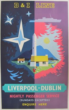 Vintage B & I Lines Travel Poster: Liverpool to Dublin Posters Uk, Railway Posters, Tourism Poster, Travel And Tourism, Bus Travel, Vintage Travel Posters, Graphic Illustration, Vintage Designs, Illustrations Posters
