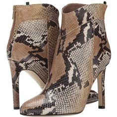SJP by Sarah Jessica Parker Quina (730 CAD) ❤ liked on Polyvore featuring shoes, boots, ankle booties, ankle boots, beige snake print, pointed ankle boots, pointy boots, pointed booties and high heel boots